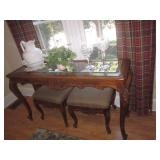Carved Glass Top Sofa Table with Two Accent Benches