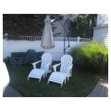 Adirondack Chairs with Ottomans & Cantilever Umbrellas