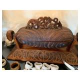 Maori Carved Wake Huia Treasure Box by Hemi Taylor