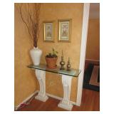 Glass Top Double Pedestal Entry Console Table