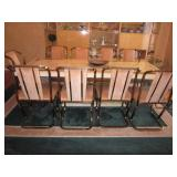 Stunning Lacquer Finish with a Brass Pedestal Dining Room Suite  10 Gold Chrome Plush Seating Chairs