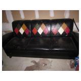 Mid-Century Modern Barrel Arm Leather Sofa
