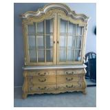 Drexel Heritage Yellow Hand Painted Design China Display Cabinet