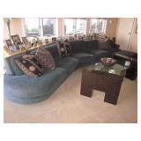 Custom Dark Green Stunning Sectional Sofa