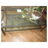 Glass & Metal Coffee Table with Leaf Accents