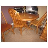 Pedestal Oak Table and Seating