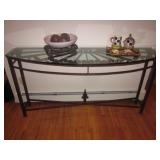 Glass & Brass Half Moon Sofa/Entry Table