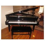 Hardman Black Lacquer Baby Grand Piano Refurbished