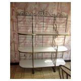 Large Brass & Marble Bakers Rack Display