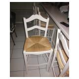 Five Rush Seat ~ White Wood With Wicker Seats Counter Bar Stools