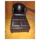 Black Leather Seating and Storage Ottomans
