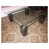 MCM Glass Top Chrome Marble Four Post Cocktail Table