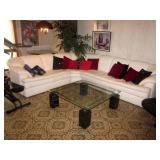 MCM Glass Top Chrome Marble Four Post Cocktail Table ~ Spotless Sectional Sofa