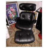 Black Leather Plycraft MCM Seating With Ottoman
