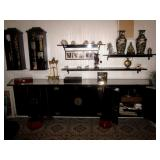 Stunning Black Lacquer Asian Credenza ~ Oriential Shelving and Statuary