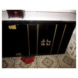 Stunning Black Lacquer Asian Credenza