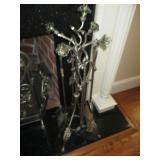 Ornate Blown Glass Fireplace Tools