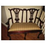 Chippendale Style Carved Mahogany Bench Two Seater