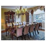 Stunning Thomasville Dining Room Suite Complete with 8 Upholstered Chairs with China Cabinet