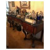 Stunning Carved Marble Top French Louis XV Sideboard Server Buffet