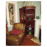 Bradington Young Leather Tufted Recliners (two) ~ Beautiful Corner Wall Unit Shelving