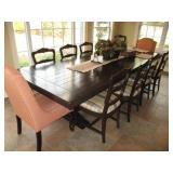 Custom 10 Ft Wood Plant Dining Table 8 Wood Chairs 2 Fabric