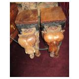 Wood Carved Elephant Stands