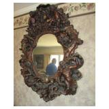 Antique Gothic Angel Cherub Zodiac Brutalist Style Carved Wall Mirror