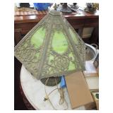 GREEN SLAG GLASS PANEL LAMP