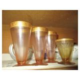 Pink Vintage Gold Rim Cut Glass Drinking Glasses