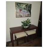 Sofa Console Table with Two Fabric Top Benches