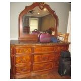 Stunning Marble Top Queen Bedroom Suite Leather Headboard & Footboard