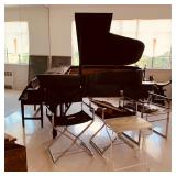 Weber Baby Grand Piano and Mid-Century Modern Virtue Bros. Directors Chairs