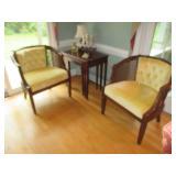 Pair Of Cane/Fabric Seating & Henkel Harris Nesting Tables