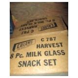 Never Used Vintage Harvest Milk Glass Lunch Sets