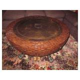 Round Leather Top Coffee Accent Table