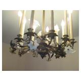 Stunning Candelabra Chandelier with Glass Accent Flowers