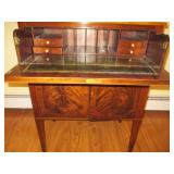 Stunning 1940's Vintage Antique Flamed Mahogany Leather Top Secretary Desk