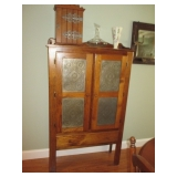 Antique Pie Cabinet with Tin Door Decorative Accents
