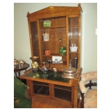 Stunning Leather Top Display/entertaining Cabinet