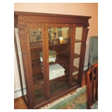 Antique Tiger Oak Glass Display Cabinet