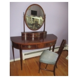 Vintage Inlaid Mirrored Vanity with Seating