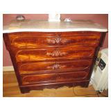 Marble Top Flame Mahogany Dresser