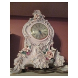 Vintage Capodimonte Clock With Hand Made Hand Painted Rose Embellishments,