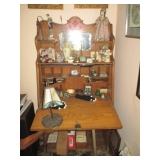 Antique Tiger Oak Secretary with Mirror