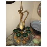 Vintage Moser Style Czech Bohemian Green Glass Decanter Set, Green Gold