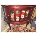 Mahogany Oval Chocolate Vitrine Curio Table