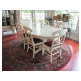 Pottery Barn White Double Pedestal Dining/Kitchen Table With Seating (6) ~~Beautiful Round Wool Rug