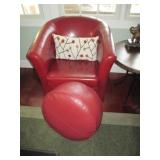 Pair of Grandinroad Red Leather Chairs with Ottomans