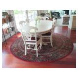 Pottery Barn White Double Pedestal Dining/Kitchen Table With Seating (6) ~ Beautiful Round Rug